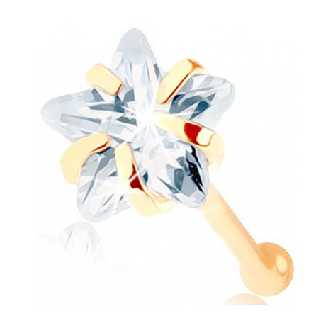 Zlatý piercing do nosu 585 - rovný, čirá zirkonová hvězdička Šperky eshop