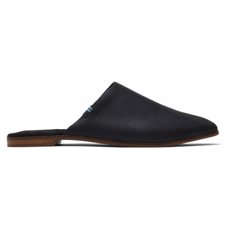 Black Leather Women Jutti Mule Flat Toms