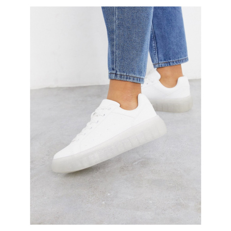 Bershka clear sole trainer in white