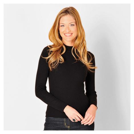 Blancheporte Žebrovaný pulovr se stojáčkem, délka cca 63 cm černá
