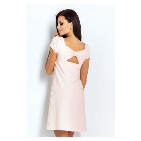 Dámské klasické šaty s krátkým rukávem v pudrově růžové barvě 198 IVON