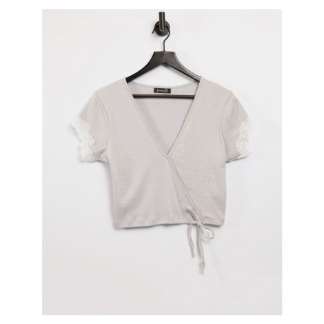 Loungeable pointelle lounge ballet wrap top with lace trim in grey