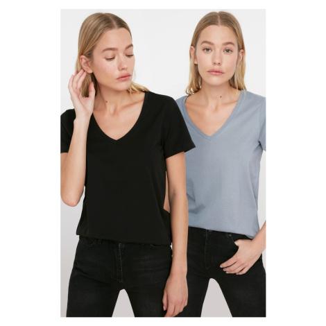 Trendyol Black-Gray 100% Cotton V Collar 2 Pack Knitted T-Shirt