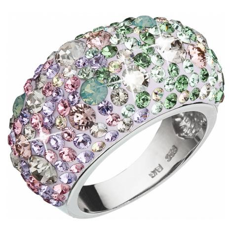 Evolution Group Stříbrný prsten s krystaly Swarovski mix barev fialová růžová zelená 35028.3