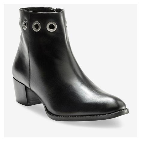Blancheporte Kotníkové kožené boty s kovovými očky černá