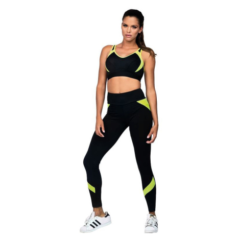 Fitness legíny Suzanne černé žlutý neon Lorin