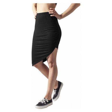 Ladies Asymetric Viscose Skirt - black Urban Classics
