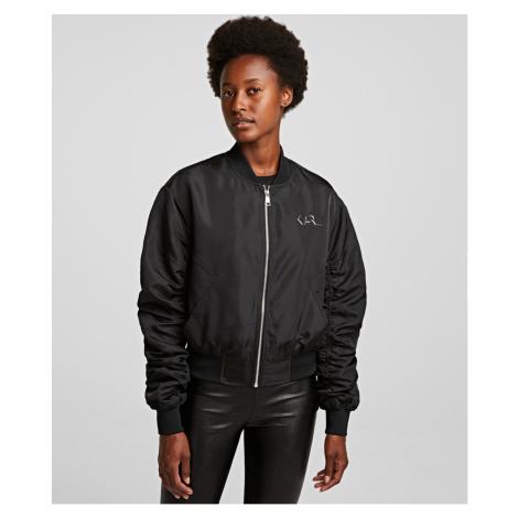 Bunda Karl Lagerfeld Iridescent Bomber Jacket - Černá