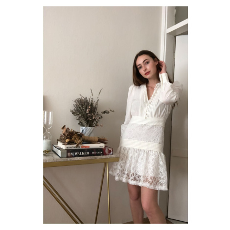 Trendyol Ekru Skirt Ribbed Detailed Dress