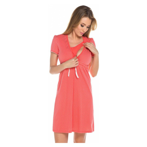 Italian Fashion Bavlněná těhotenská noční košile Alena korál