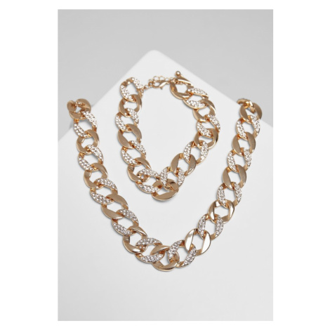 Basic Diamond Necklace And Bracelet Set - gold Urban Classics