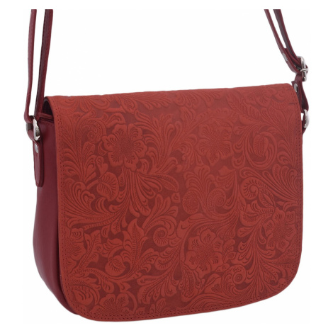 Červená dámská kožená klopnová crossbody kabelka Jordane Mercucio