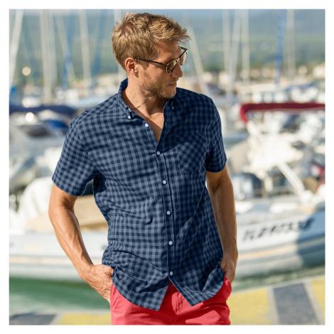 Blancheporte Kostičkovaná košile s krátkými rukávy modrá džínová