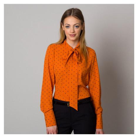 Dámská košile Long Size oranžová s dlouhou mašlí 12560