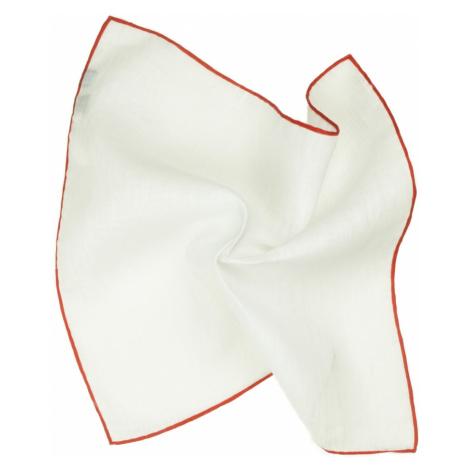 Bílý lněný kapesníček s červenými okraji John & Paul