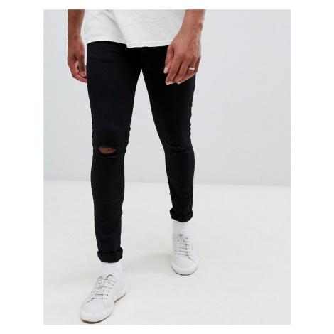 New Look skinny jeans with knee rip in black wash - Black