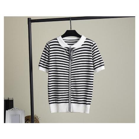 Dámské černobílé tričko s mašlí
