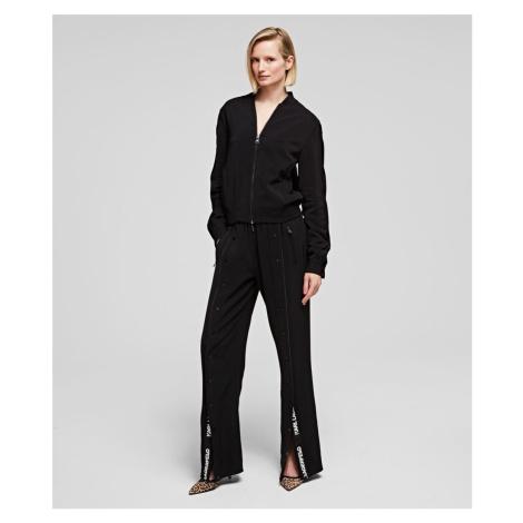 Kalhoty Karl Lagerfeld Wide Leg Snap Pants W/ Logo - Černá