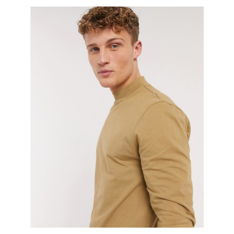 New Look long sleeve turtle neck t-shirt in tan