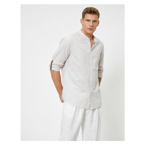 Koton Mandarin Collar Flannel Shirt