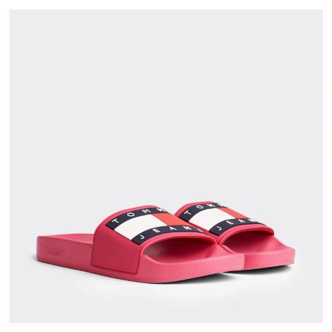Tommy Jeans dámské sytě růžové pantofle Flag Tommy Hilfiger