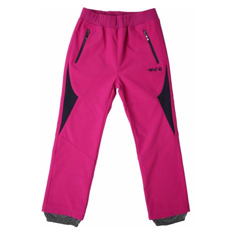 Dívčí softshellové kalhoty - Wolf B2182, sytě růžová