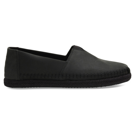 Black/Black Full Grain Men Leather Alpargata on Rope Toms