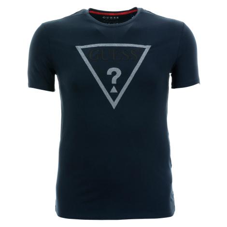 Pánské tmavě modré tričko Guess s textilní aplikací