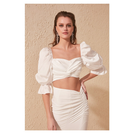 Trendyol Satin Blouse with White Knot Detail