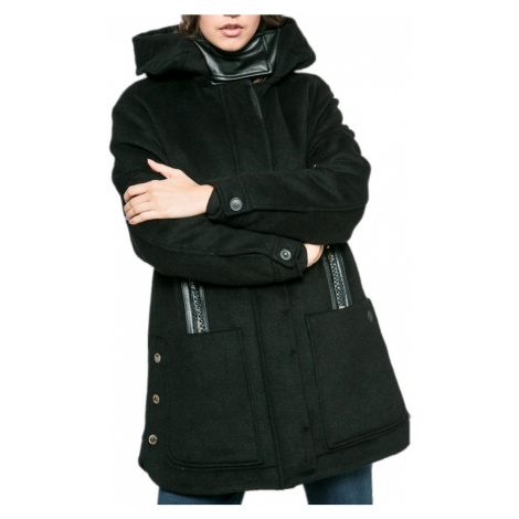 Černý kombinovaný kabát - TRUSSARDI
