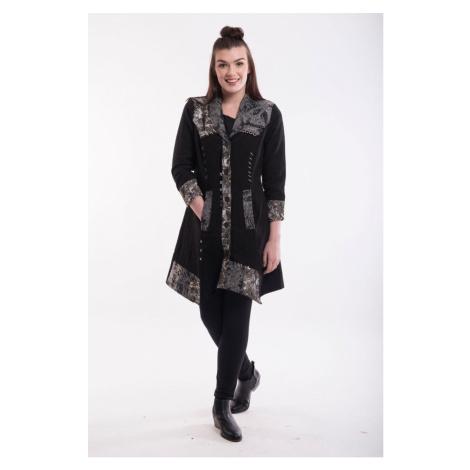 Orientique černý kabát Coat Asymetric Hem Black