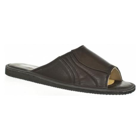 Just Mazzoni Luxusné pánske čierne kožené papuče GERRY Černá