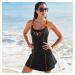 Blancheporte Jednodílné plavky se sukénkou černá/oranžová