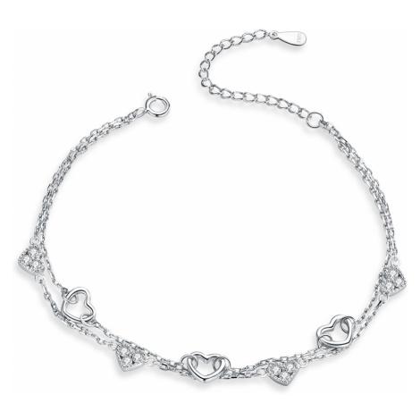Linda's Jewelry Stříbrný náramek dvojitý Love zirkon INR070