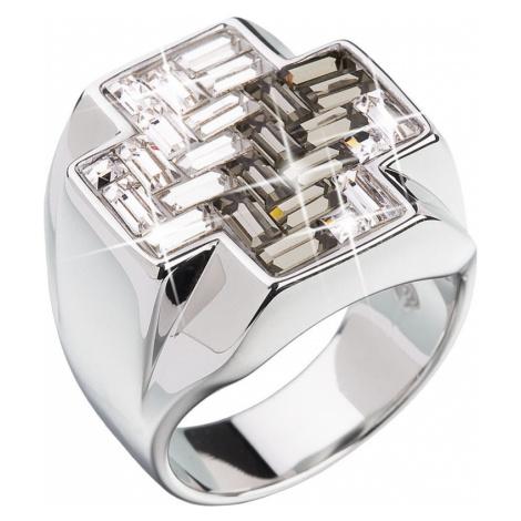 Stříbrný prsten s krystaly černý kříž 35811.3