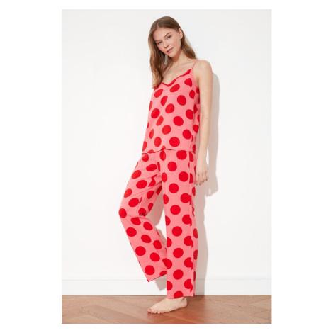 Trendyol Red Polka Dot Woven Pajamas Set