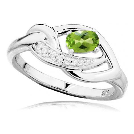 MOISS Luxusní stříbrný prsten s olivínem a zirkony RG0000