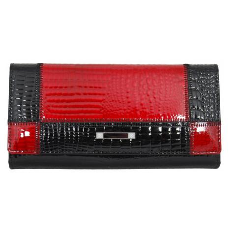 Černočervená dámská kožená rámová peněženka Rihana New Berry