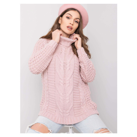 Dusty pink turtleneck sweater with braids Fashionhunters
