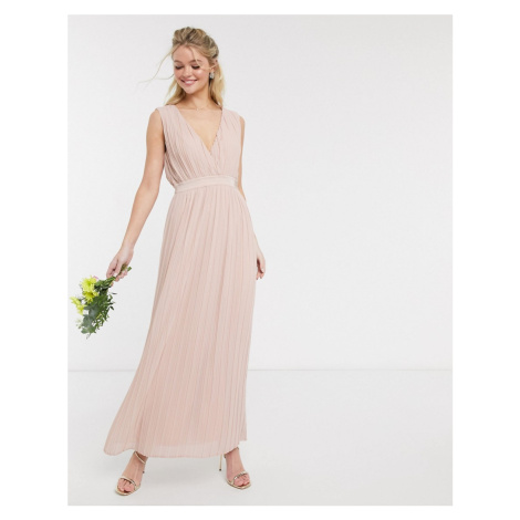 Y.A.S pleated maxi dress with deep v neck in pink-Beige