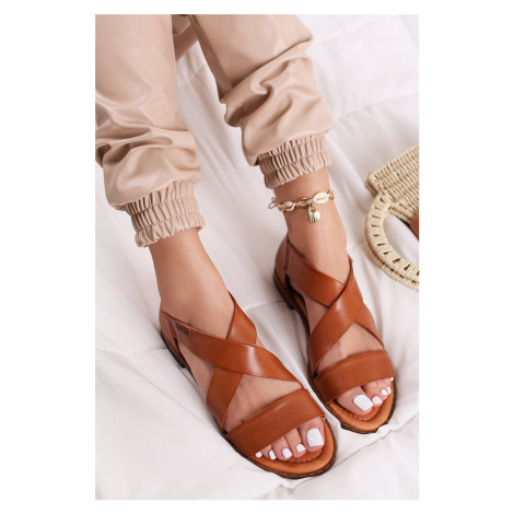Skořicové kožené nízké sandály Algar Pikolinos