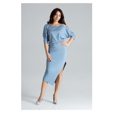 Elegantní černé šaty modré asymetrické s odhaleným ramenem
