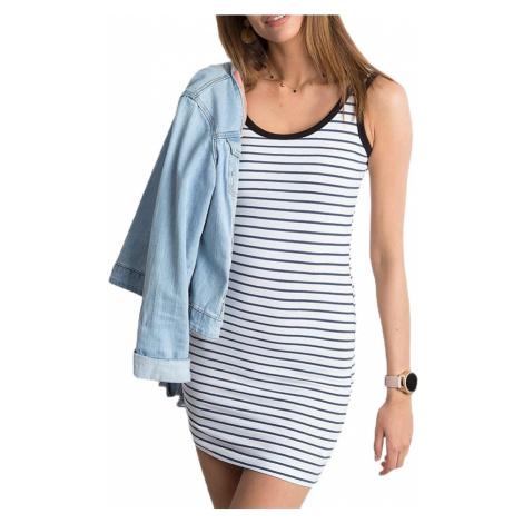 Bílo-modré pruhované dámské šaty BASIC
