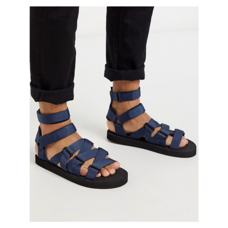 ASOS DESIGN tech sandals with tape straps-Navy