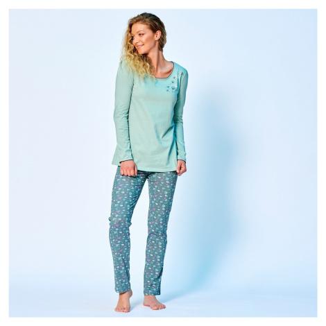 Blancheporte Pyžamové tričko s potiskem květin a dlouhými rukávy zelenkavá