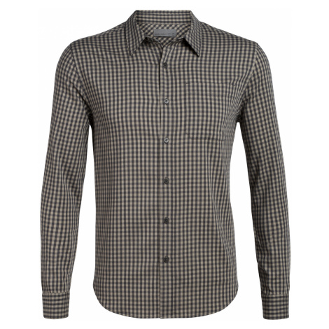 Pánská košile ICEBREAKER Mens Compass Flannel LS Shirt, Monsoon/British Tan Icebreaker Merino