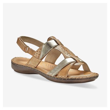Blancheporte Dvoubarevné kožené sandály, béžové béžová