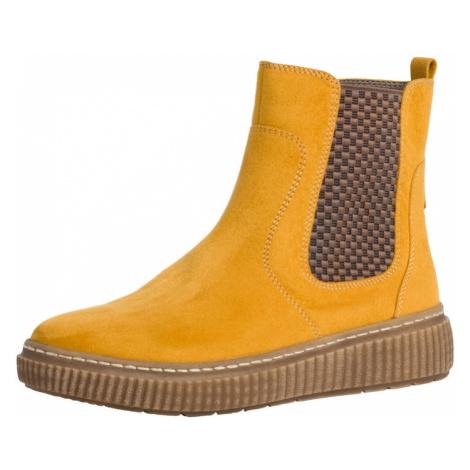 JANA Chelsea boty hořčicová / hnědá