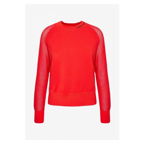 Calvin Klein Calvin Klein dámský červený svetr Cotton Sweater With Mesh Sleeves
