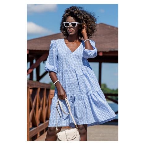 Světle modré bavlněné volánové šaty F1235 Fobya